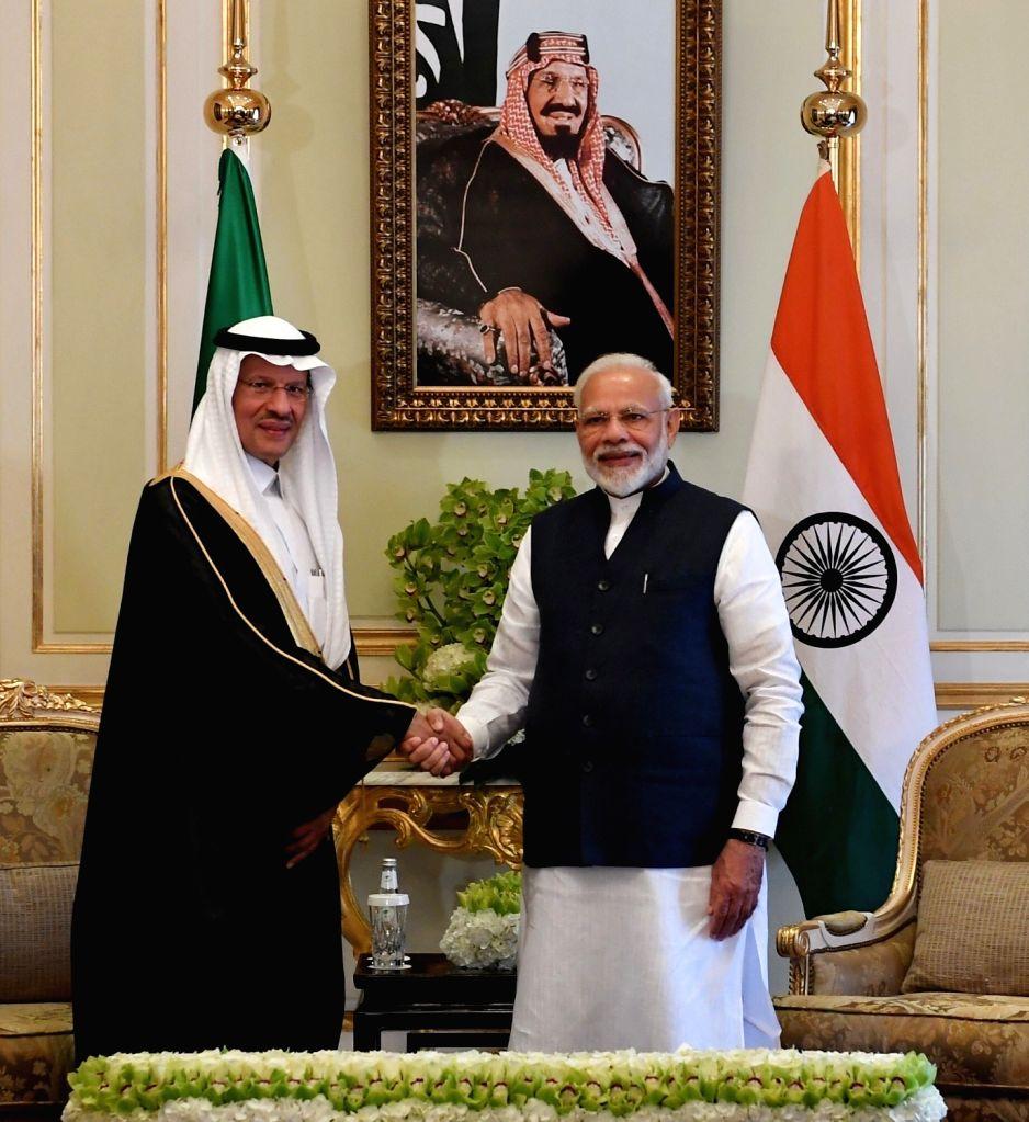 Riyadh: Prime Minister Narendra Modi meets Saudi Arabian Energy Minister HRH Abdulaziz bin Salman Al Saud in Riyadh, on Oct 29, 2019. (Photo: IANS/MEA) - Narendra Modi