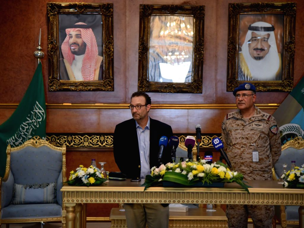 RIYADH, Sept. 5, 2019 (Xinhua) -- U.S. Assistant Secretary of Near Eastern Affairs David Schenker (L) attends a press conference at a military facility in Al Kharj, south of Riyadh, Saudi Arabia, on Sept. 5, 2019. David Schenker said on Thursday that