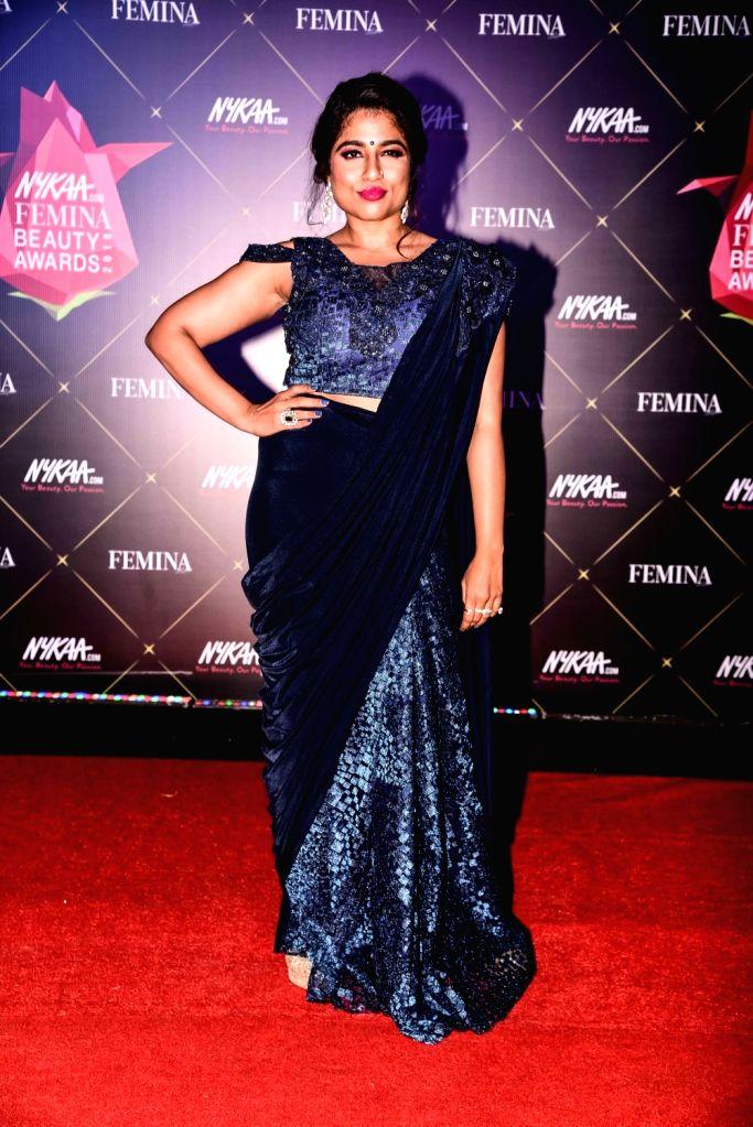 RJ Malishka at Nykaa Femina Beauty Awards 2019, in Mumbai, on Feb 20, 2019.