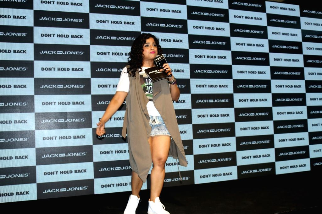 RJ Malishka Mendonsa during the launch of brand campaign Don't Hold Back by fashion brand Jack & Jones in Mumbai on Oct. 7, 2016.