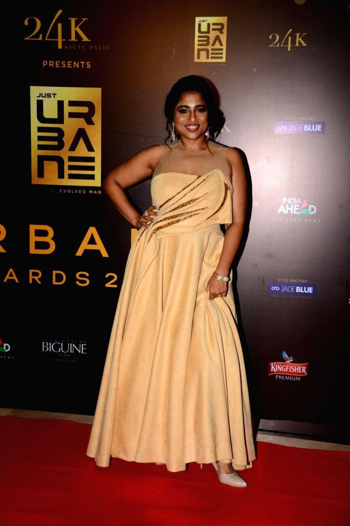 "RJ Malishka Mendonsa on the red carpet of ""Urbane Awards 2019"", in Mumbai, on June 1, 2019."