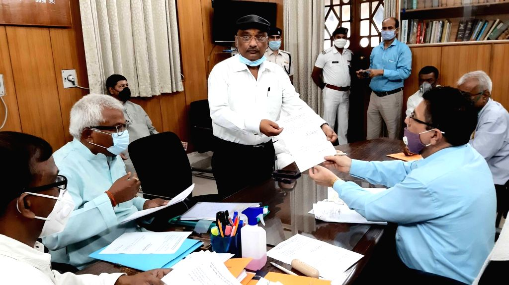 RJD candidate candidate Sunil Kumar Singh filing his nomination papers for Bihar Legislative Council (MLC) elections, at the state assembly in Patna on June 24, 2020. - Sunil Kumar Singh
