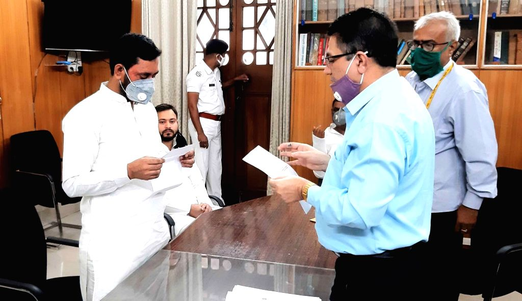 RJD candidate Farooqe Sheikh filing his nomination papers for Bihar Legislative Council (MLC) elections, at the state assembly in Patna on June 24, 2020. - Farooqe Sheikh