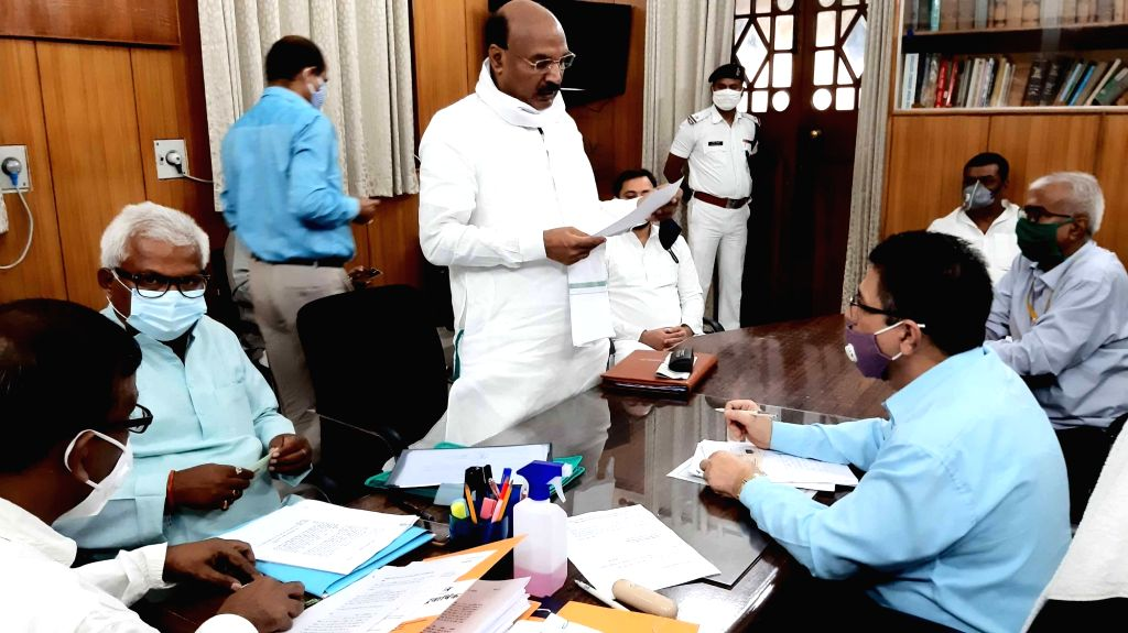 RJD candidate Rambali Singh Chandravansi  filing his nomination papers for Bihar Legislative Council (MLC) elections, at the state assembly in Patna on June 24, 2020. - Rambali Singh Chandravansi