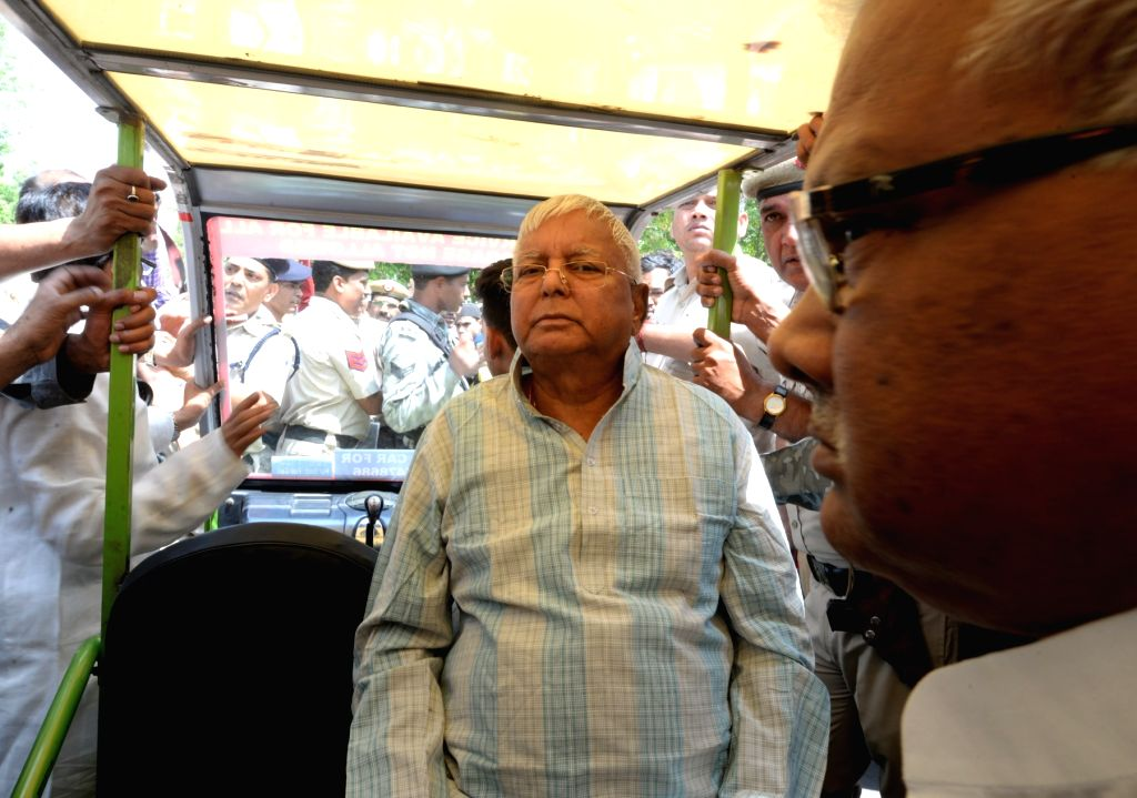 RJD chief Lalu Prasad Yadav at New Delhi railway station on March 29, 2018. - Lalu Prasad Yadav