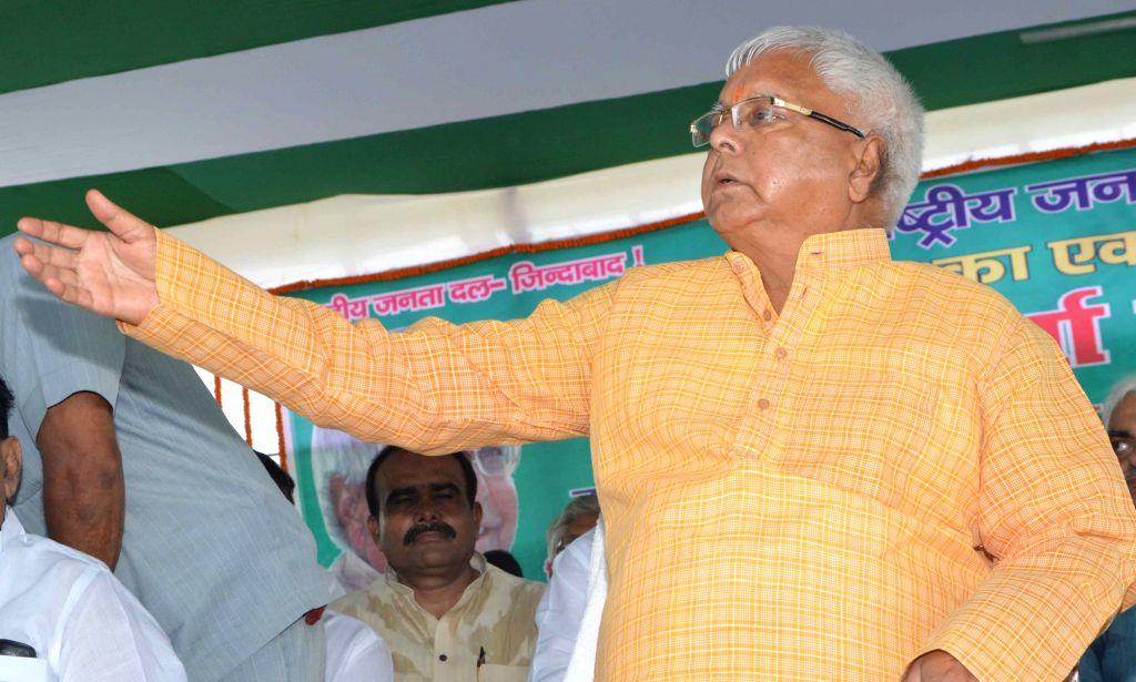 RJD chief Lalu Prasad Yadav during a party rally in Patna on Aug 16, 2015. - Lalu Prasad Yadav