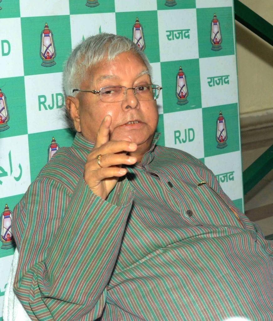 RJD chief Lalu Prasad Yadav during a press conference in Patna on May 14, 2017. - Lalu Prasad Yadav
