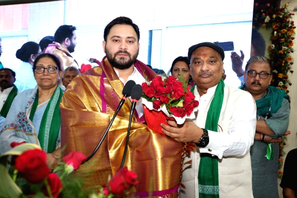 RJD er Tejaswi Yadav at party's District President and general secretary's training camp at Patna on Tuesday 05,2021. - Tejaswi Yadav