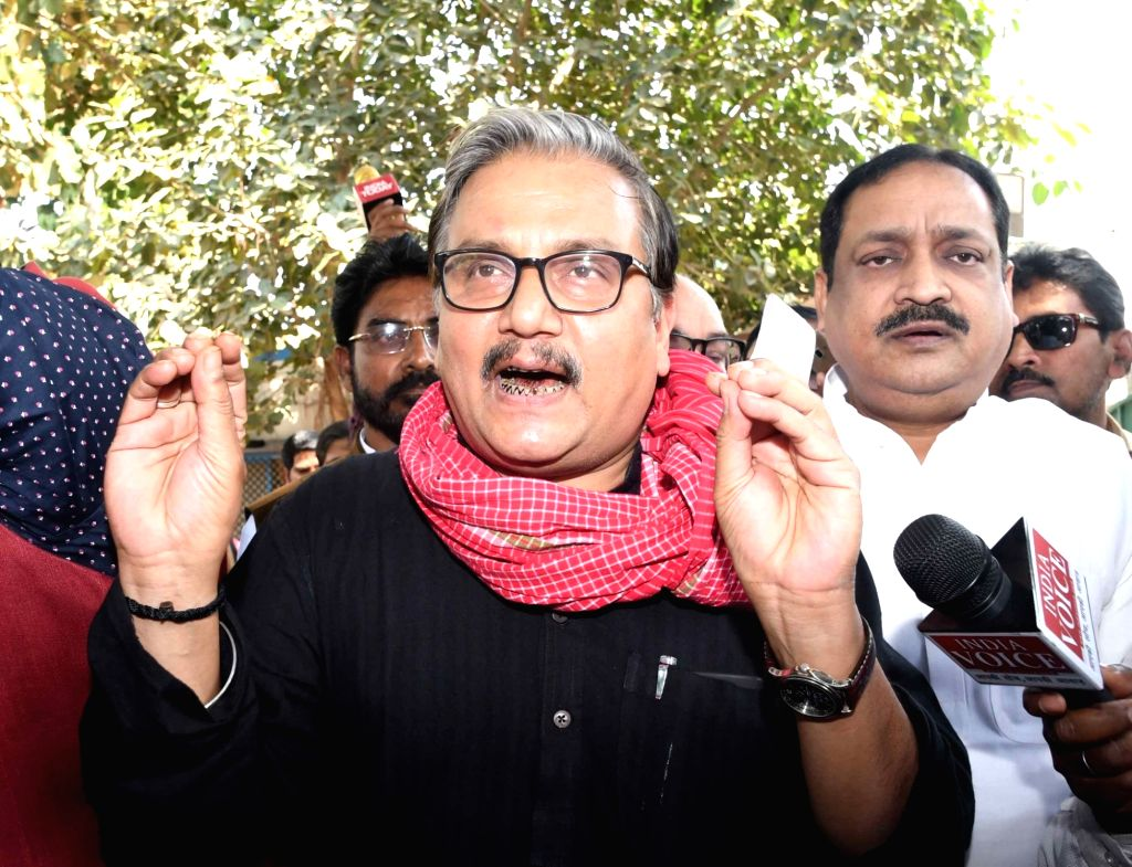 RJD leader Manoj Jha talks to media persons in Patna, on March 9, 2019.