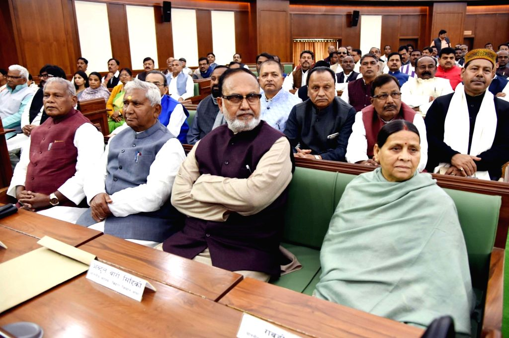RJD leader Rabri Devi and HAM leader Jitan Ram Manjhi on the first day of state assembly's budget session in Patna on Feb 11, 2019.