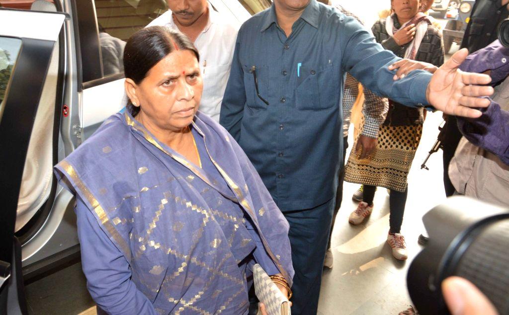 RJD leader Rabri Devi arrives at Bihar assembly in Patna, on Dec 7, 2015.