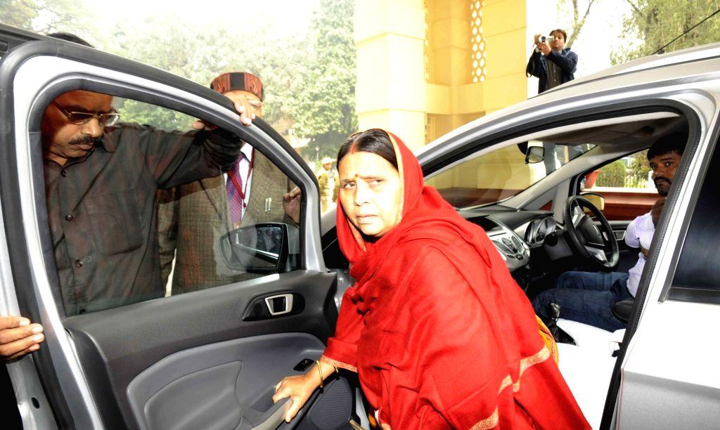 RJD leader Rabri Devi arrives at Bihar assembly in Patna, on Dec 8, 2015.
