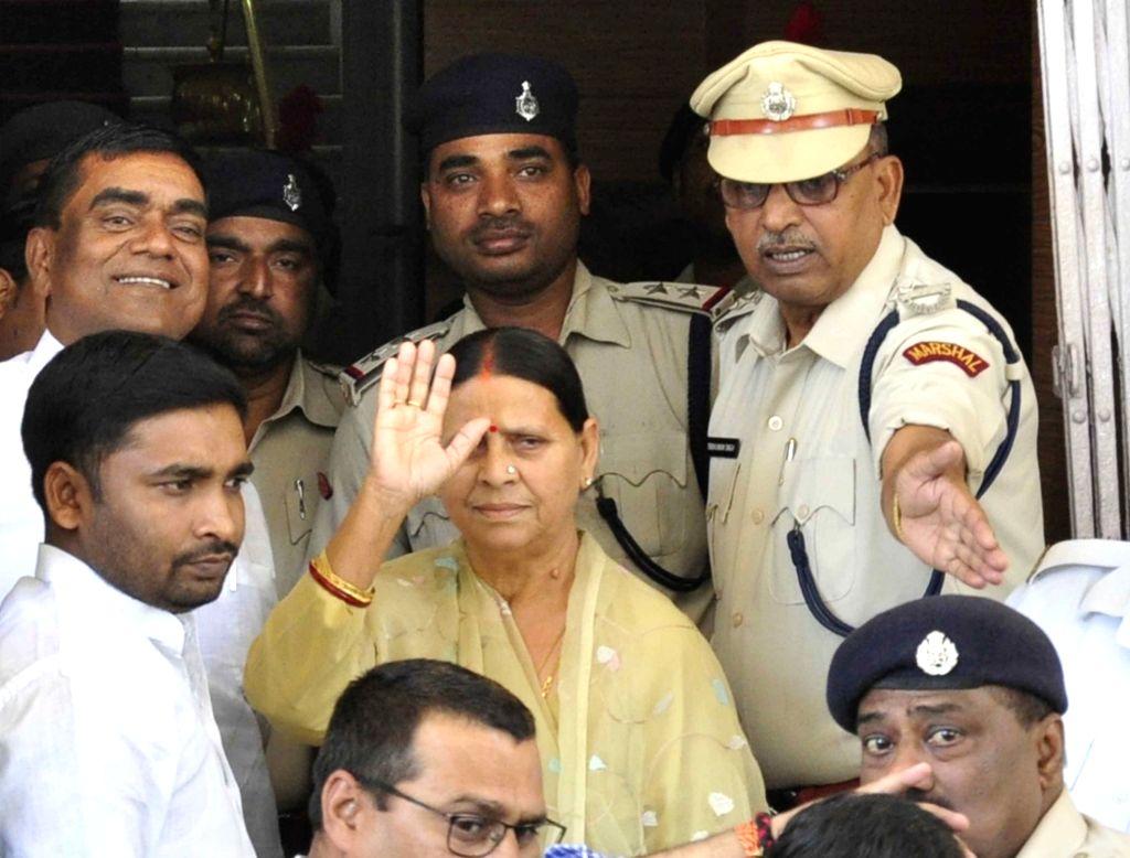 RJD leader Rabri Devi arrives at Bihar Assembly in Patna on March 26, 2018.