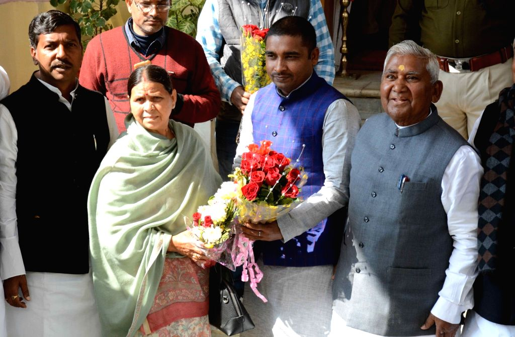 RJD leader Rabri Devi arrives at state assembly on the first day of the budget session in Patna on Feb 11, 2019.