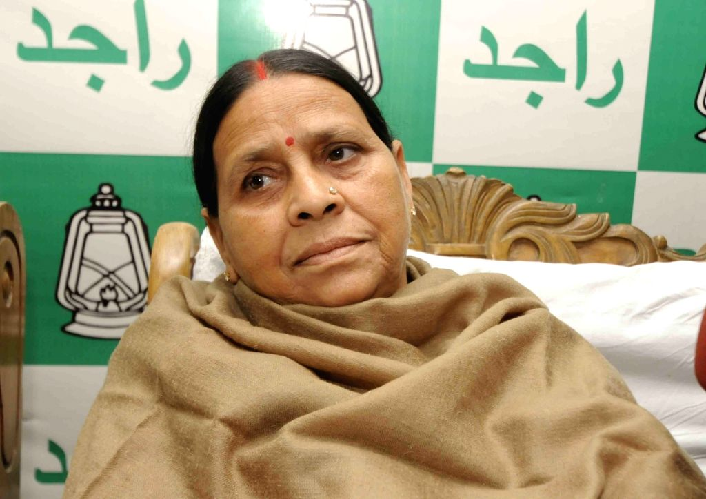 RJD leader Rabri Devi during party's executive committee meeting in Patna on Feb 13, 2018.