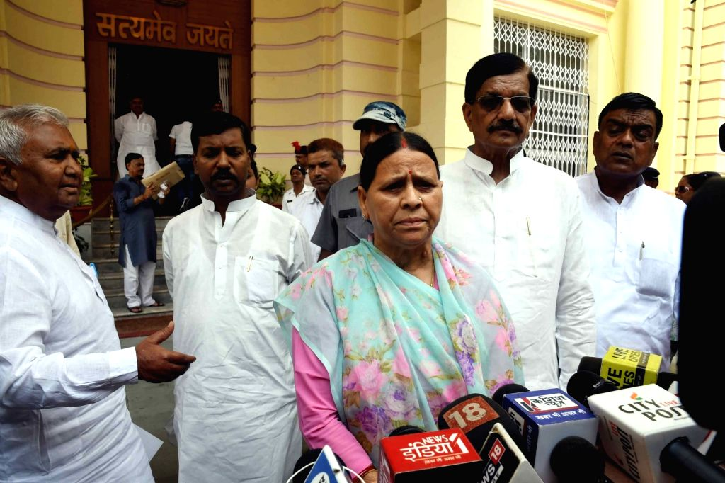 RJD leader Rabri Devi talks to media personnel at Bihar Assembly, in Patna on July 17, 2019.