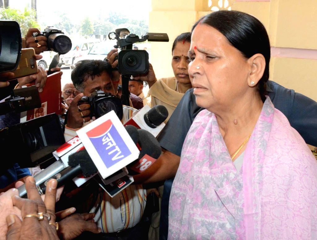 RJD leader Rabri Devi talks to press at Bihar Assembly on March 23, 2018.