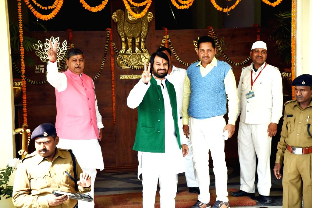 RJD leader Tej Pratap Yadav arrives at Bihar assembly on the first day of state budget session in Patna on Feb 11, 2019. - Tej Pratap Yadav