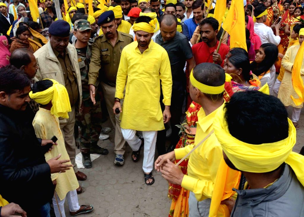 "RJD leader Tej Pratap Yadav take part in ""Bhole ki baraat"" or ""Shiva's baraat"" procession on the occasion of Maha Shivaratri in Patna on Feb 13, 2018. - Tej Pratap Yadav"