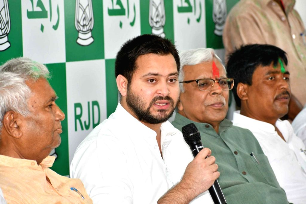 RJD leader Tejashwi Yadav addresses a press conference after the party wrested the Jokihat Assembly seat from the ruling JD-U in Bihar; in Patna on May 31, 2018. - Tejashwi Yadav
