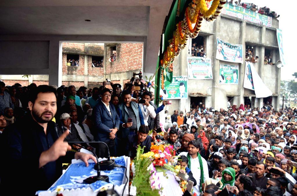 RJD leader Tejashwi Yadav addresses a public rally in Bihar's Supaul on Feb 8, 2019. - Tejashwi Yadav
