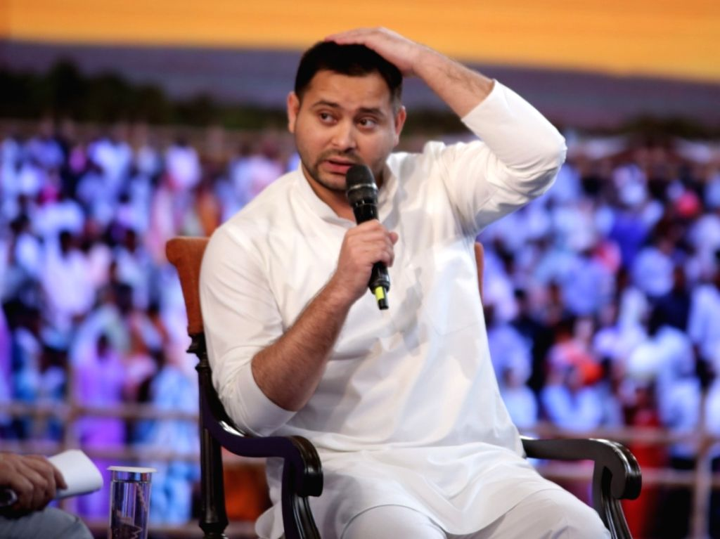 "RJD leader Tejashwi Yadav addresses during ""NDTV Yuva 2018"", in New Delhi on Sept 16, 2018. - Tejashwi Yadav"