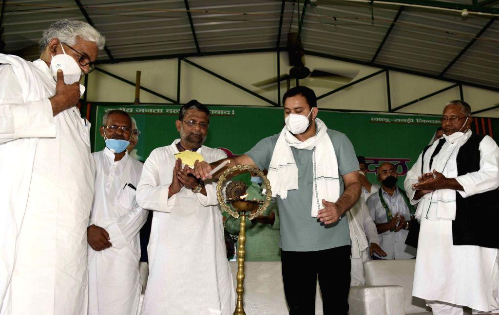 RJD leader Tejashwi Yadav during the party's 24th Foundation Day function, in Patna on July 5, 2020. - Tejashwi Yadav