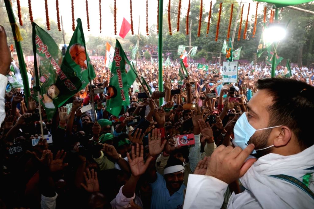 RJD leader Tejashwi Yadav holds an election rally ahead of the remaining two phases of the Bihar Assembly polls, at Hajipur in Vaishali district on Oct 28, 2020. - Tejashwi Yadav