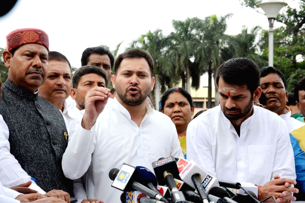 RJD leader Tejashwi Yadav talks to media at Bihar Assembly, in Patna, on July 23, 2018. - Tejashwi Yadav