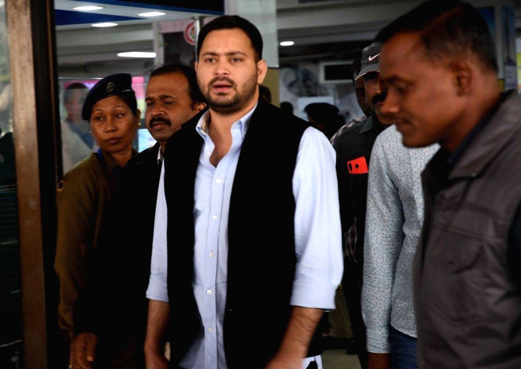 RJD leader Tejashwi Yadav talks to the media in Patna, on Dec 5, 2018. - Tejashwi Yadav