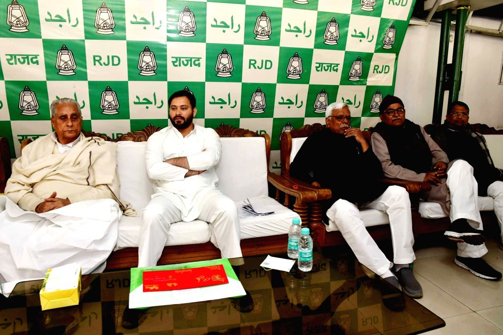 RJD leaders Jagada Nand Singh and Tejashwi Yadav preside over a party meeting in Patna on Feb 8, 2020. - Jagada Nand Singh and Tejashwi Yadav