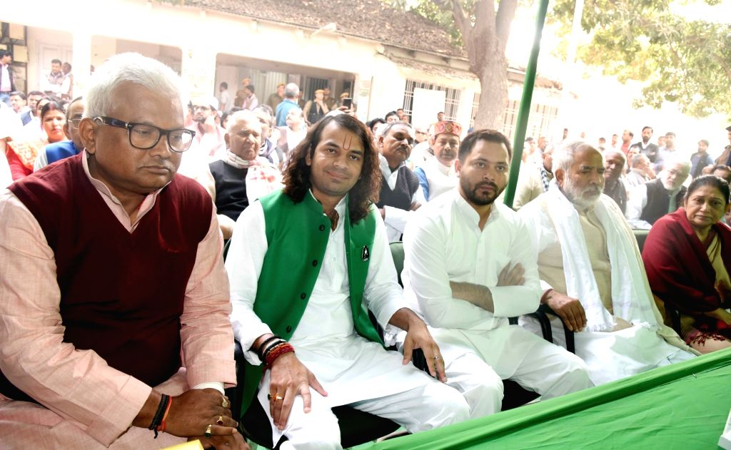 RJD leaders Tej Pratap Yadav, Tejashwi Yadav and Raghuvansh Prasad Singh during the filing of nomination papers of jailed party chief Lalu Prasad Yadav for the post of RJD's National ... - Tej Pratap Yadav, Tejashwi Yadav, Raghuvansh Prasad Singh and Lalu Prasad Yadav