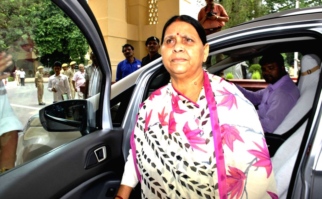 RJD legislator Rabri Devi arrives at Bihar assembly in Patna, on Aug 1, 2016.