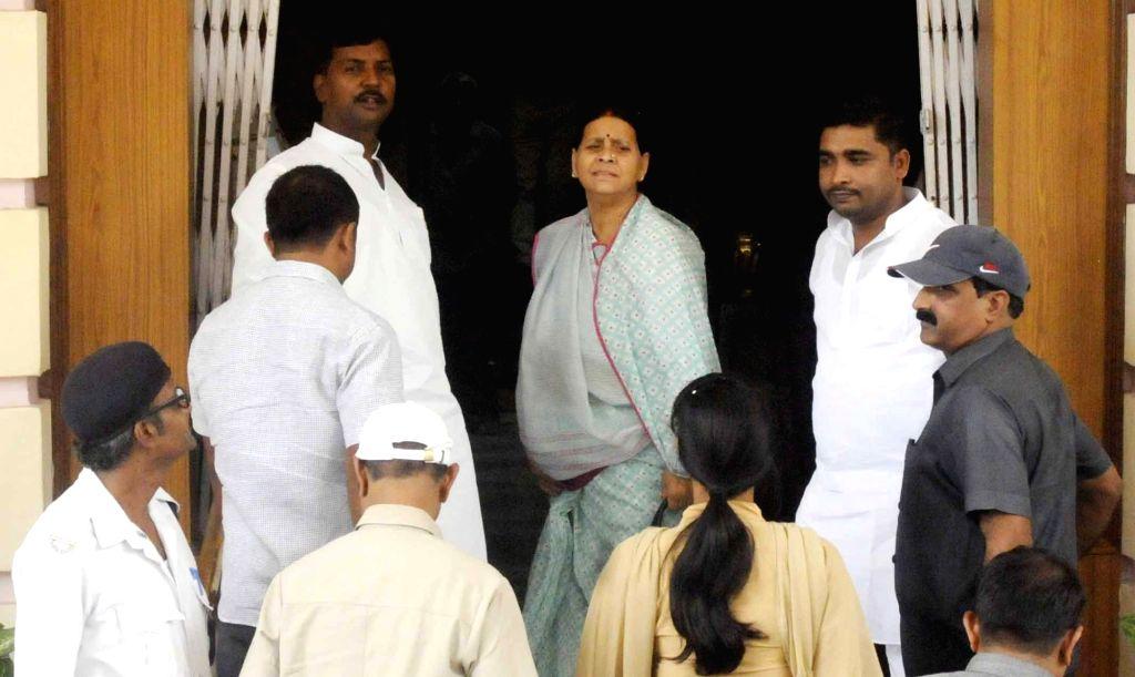 RJD legislator Rabri Devi arrives at Bihar Legislative Assembly, in Patna on July 25, 2018.