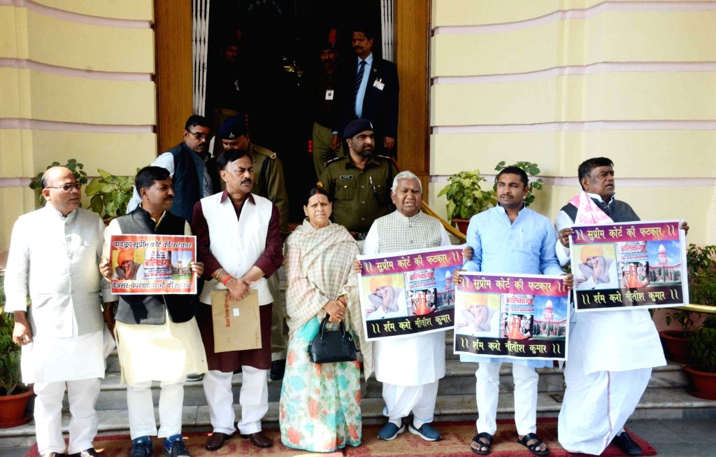 RJD legislators led by party leader Rabri Devi stage a demonstration to press for their demands at Bihar Assembly in Patna on Feb 20, 2019.