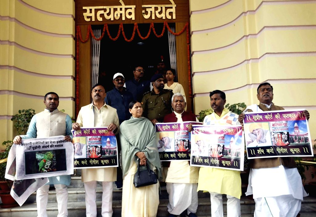RJD legislators led by Rabri Devi stage a demonstration to press for their demands at Bihar Assembly in Patna on Feb 14, 2019.