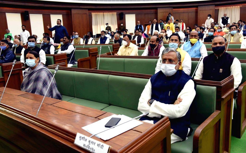 RJD MLA Rabri Devi and BJP MLA Sushil Kumar Modi during the joint sitting of both Houses of State legislature, in Patna on Nov 26, 2020. - Sushil Kumar Modi