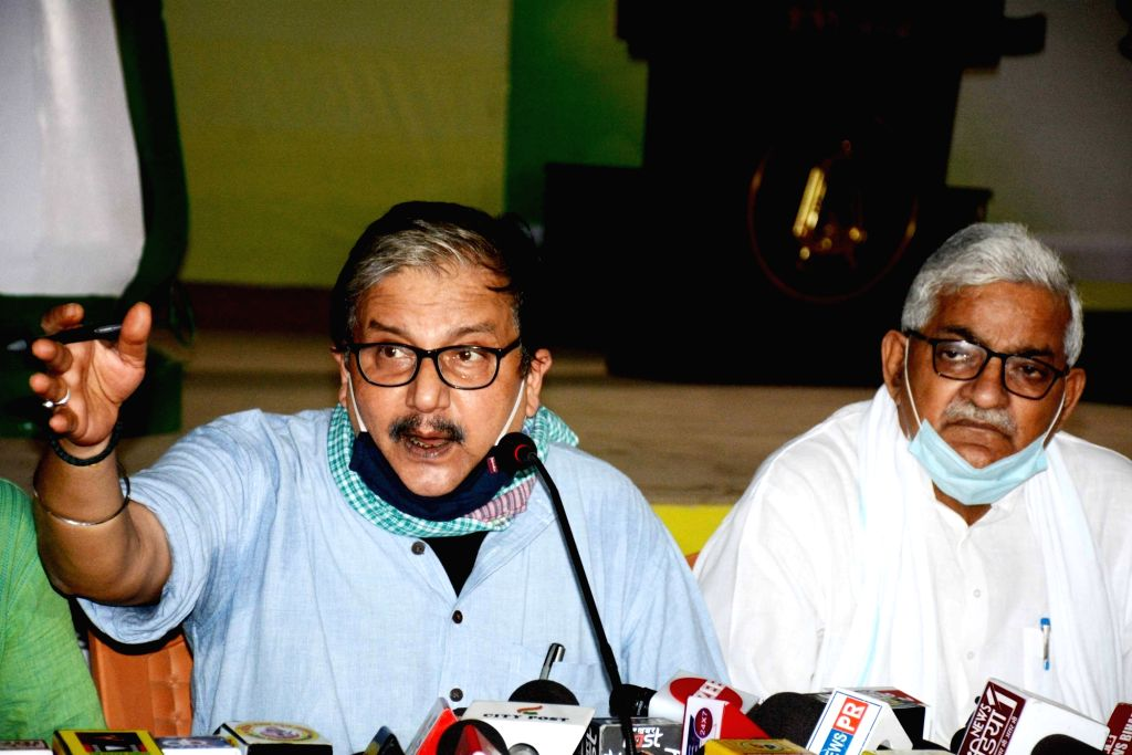 RJD MP and party spokesperson Manoj Jha addresses a press conference ahead of Bihar Assembly elections, in Patna on Oct 21, 2020.