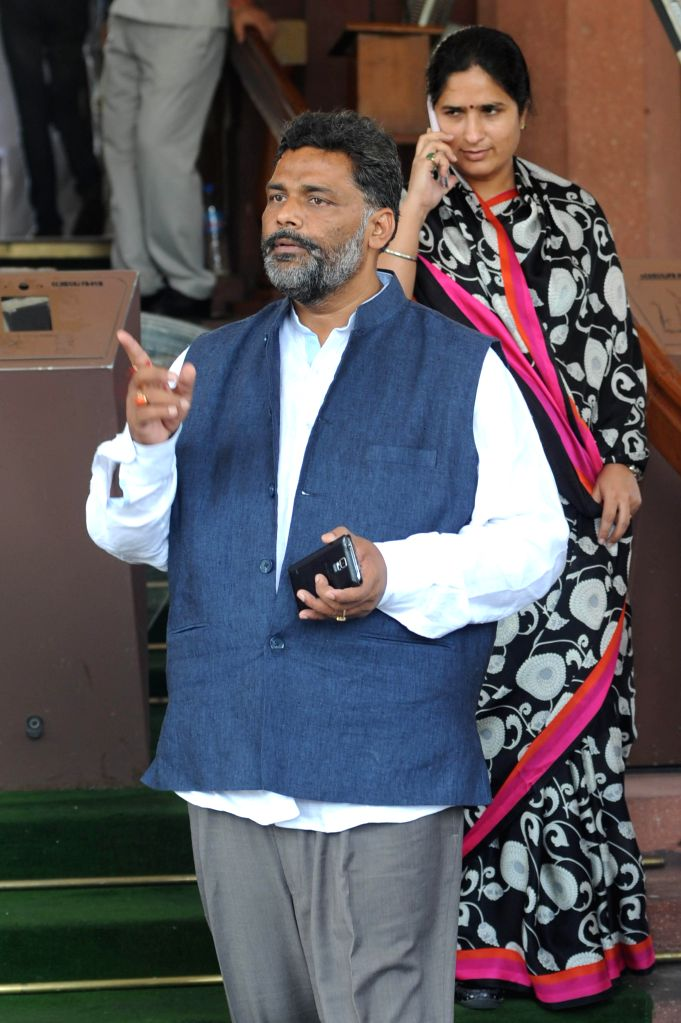 RJD MP from Madhepura (Bihar) Pappu Yadav at the Parliament in New Delhi on Aug 14, 2014. - Pappu Yadav