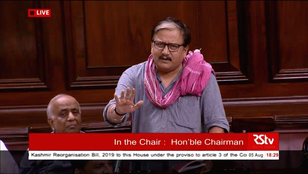 RJD MP Manoj Jha during debate on Jammu and Kashmir Reorganisation Bill in Rajya Sabha on Aug 5, 2019.