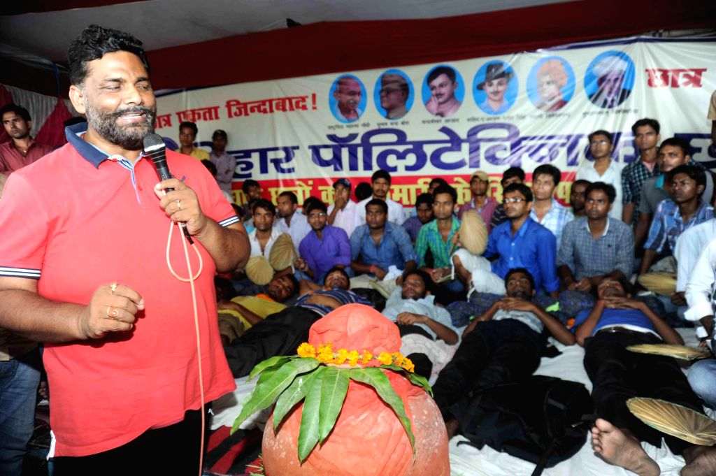 RJD MP Pappu Yadav during a programme in Patna on Aug. 30, 2014.