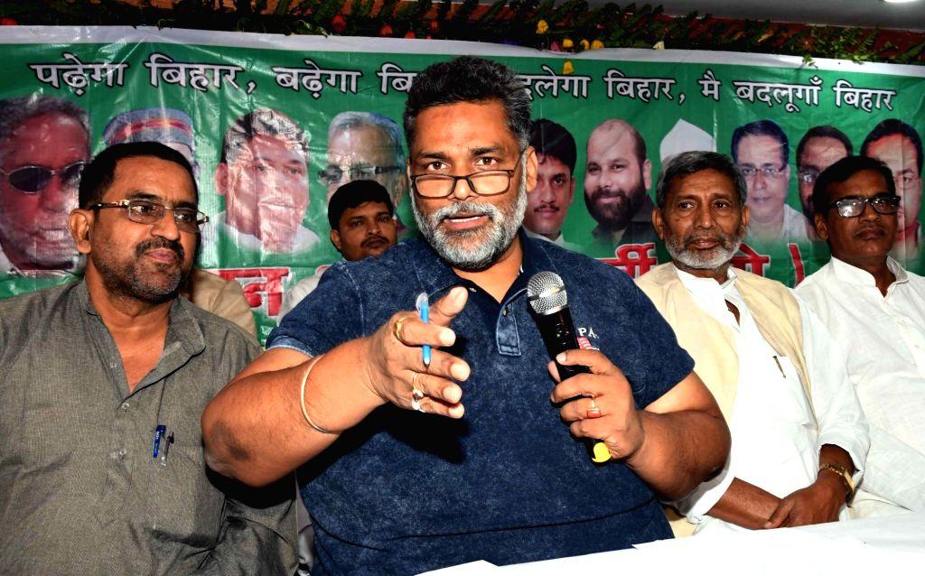RJD MP Rajesh Ranjan alias Pappu Yadav addresses a press conference in Patna on April 29, 2017. - Pappu Yadav