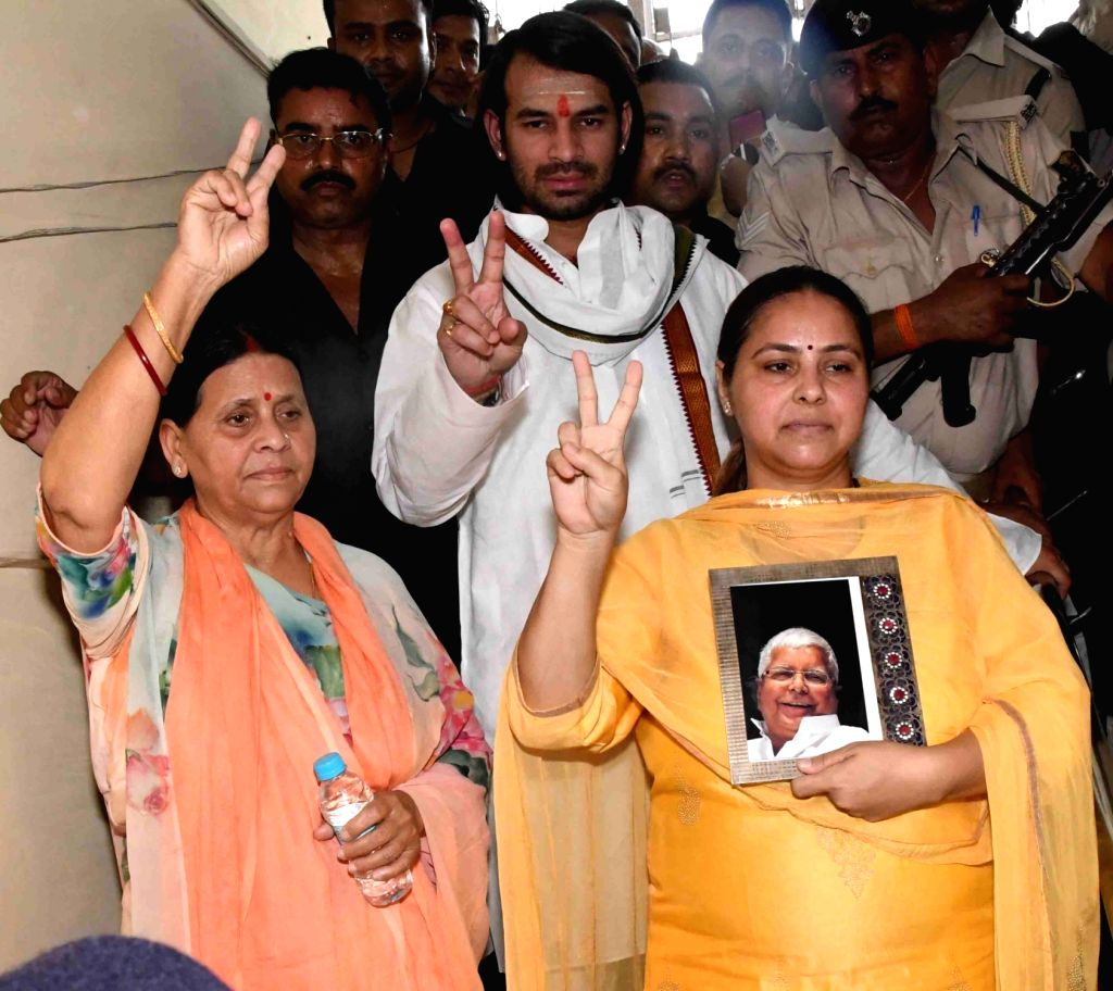 RJD's Lok Sabha candidate from Pataliputra, Misa Bharti accompanied by her mother Rabri Devi and brother Tej Pratap Yadav, arrives to file her nomination for the forthcoming Lok Sabha ... - Tej Pratap Yadav