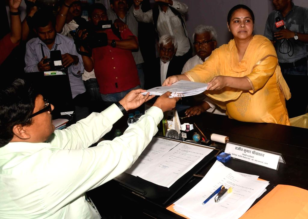 RJD's Lok Sabha candidate from Pataliputra, Misa Bharti files her nomination for the forthcoming Lok Sabha elections in Patna, on April 25, 2019.