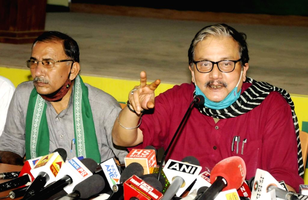 RJD spokesperson Manoj Jha addresses a press conference ahead of Bihar Assembly elections, in Patna on Oct 22, 2020.
