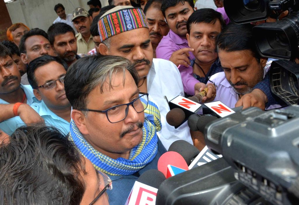 RJD spokesperson Manoj Jha addresses talks to press in Patna on May 16, 2017.