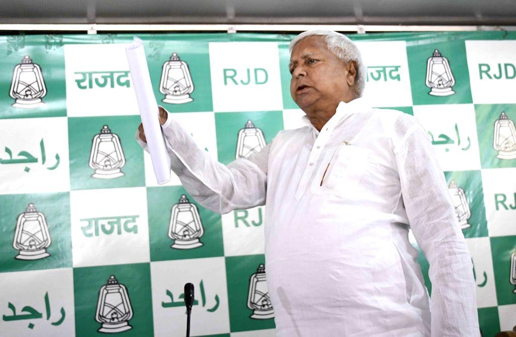 RJD supremo Lalu Yadav during a press conference in Patna on April 9, 2017. - Lalu Yadav