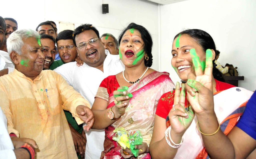 RJD workers celebrate after the party wrested Jokihat Assembly seat from the ruling JD-U in Bihar; in Patna on May 31, 2018.