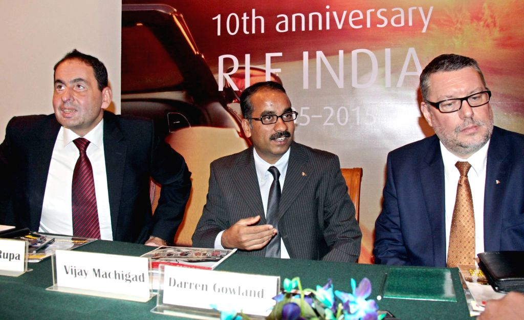RLE India Pvt. Ltd Managing Director Vijay Machigad, MD and COO Robert P Rupa and Vice President International Operations Darren Gowland during a press conference in Bengaluru on Nov 27, ...
