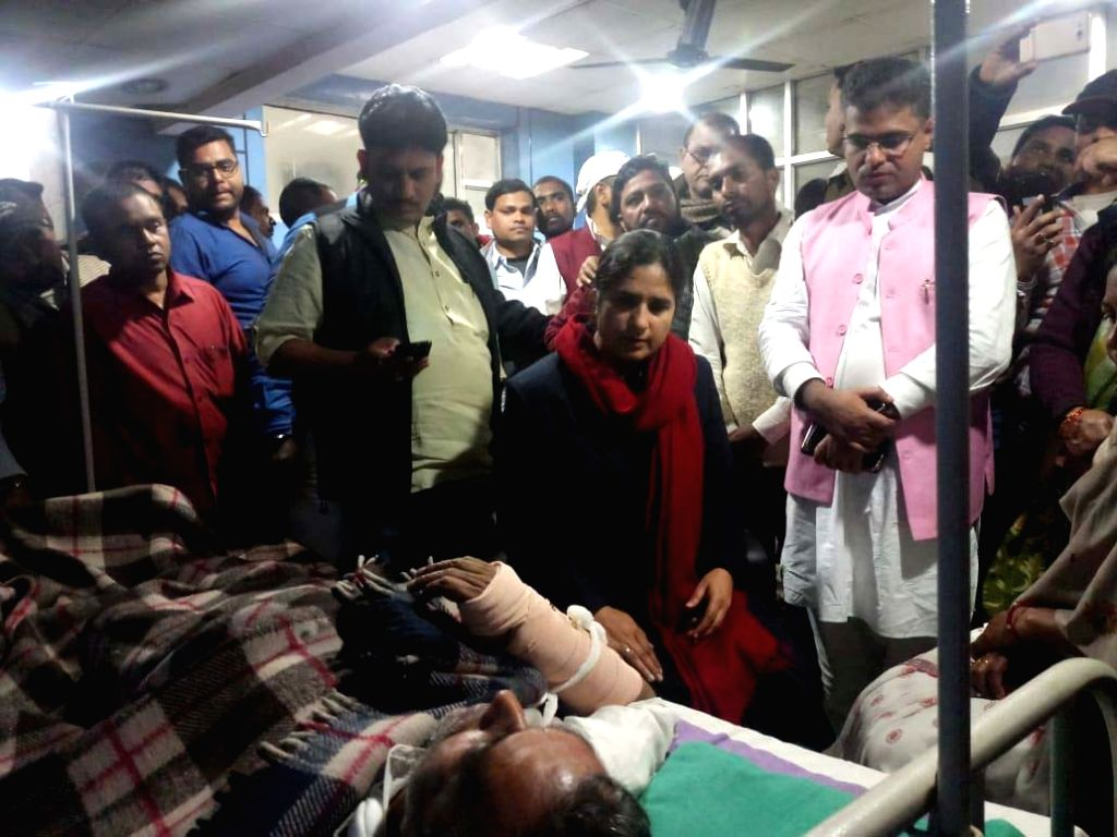 RLSP and former Union Minister Upendra Kushwaha being admitted to a local private hospital after he was injured in a police lathicharge on Saturday during a protest in the Bihar capital, in ... - Upendra Kushwaha